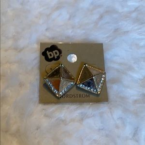 BP Nordstrom gold pyramid earrings NWT